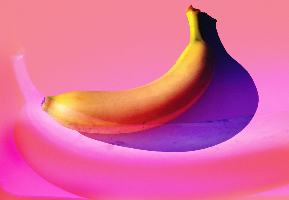 banana on pink background